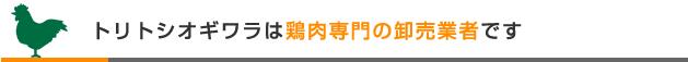 トリトシオギワラ株式会社は鶏肉専門の卸売業者です
